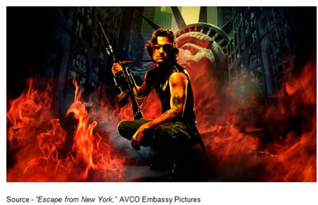 """The United States Police Force, like an army, is encamped around the island. There are no guards inside the prison, only prisoners and the worlds they have made. The rules are simple: once you go in, you don't come out."" – Narrator, ""Escape from New York,"" AVCO Embassy Pictures, 1981"