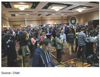 New Stuff – While this is the media mob at ShowStoppers, there were people everywhere at this year's CES trying to see what's new, what's hot and what's not around the 35 football fields of exhibit space. In a word, impossible.
