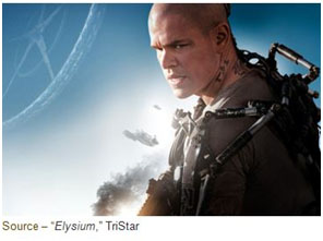 """Earth's wealthiest inhabitants fled the planet to preserve their way of life."" – Title Card, ""Elysium,"" TriStar, 2013"