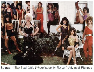 """If you grew up anywhere in Texas, you knew at an early age they was selling somethin' out there - and it wasn't poultry! – Deputy Fred, ""The Best Little Whorehouse in Texas,"" Universal Pictures, 1982"