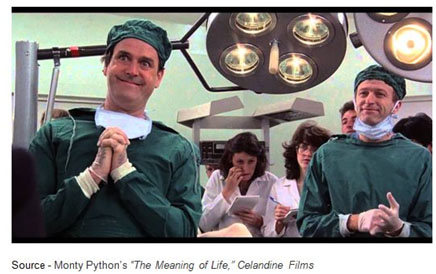 """Remember when you're feeling very small and insecure / how amazingly unlikely is your birth / and pray that there intelligent life somewhere up in space / 'cause there's bugger all down here on Earth."" – Monty Python's ""The Meaning of Life,"" Celandine Films, 1983"