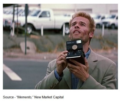 """""""Memory can change the shape of a room; it can change the color of a car. And memories can be distorted. They're just an interpretation, they're not a record, and they're irrelevant if you have the facts."""" – Leonard Shelby, """"Memento,"""" New Market Capital, 2000"""