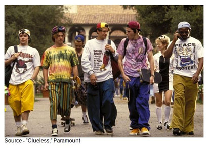"""I don't want to be a traitor to my generation at all but I don't get how guys dress today. I mean, come on, it looks like they just fell out of bed and put on some baggy pants and take their greasy hair - ew - and cover it up with a backwards cap and like, we're expected to swoon."" – Cher Horowitz, ""Clueless,"" Paramount, 1995"