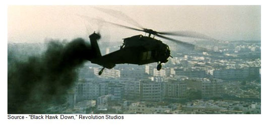 """""""These people, they have no jobs, no food, no education, no future. I just figure that we have two things we can do. Help, or we can sit back and watch a country destroy itself on CNN."""" – Eversmann, """"Black Hawk Down,"""" Revolution Studios, 2001"""
