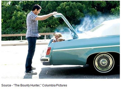 """""""No, you have got to be kidding! You cannot be putting me in the trunk! You cannot be seri!"""" -- Nicole Hurley, """"The Bounty Hunter,"""" Columbia Pictures, 2010"""
