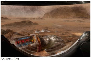 "Mars Challenge – Fox's The Martian: VR Experience is one of the first commercial immersive experiences people can have in the new form of storytelling. The 20-minute film gives you a ""real life"" feel of working, walking and surviving on Mars, flipping switches, guiding the rover and ""knowing"" your survival depended on how well you worked in the hostile environment."