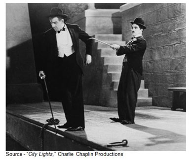 """Be careful how you're driving."" – The Tramp, ""City Lights,"" Charlie Chaplin Productions, 1931"