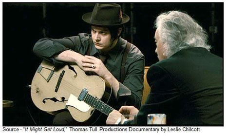 """The day when you pick up a guitar there's nothing coming through whatsoever. There's no new pieces or new ideas. And that's the sort of gift any creative person has."" -- Jimmy Page, ""It Might Get Loud,"" Thomas Tull Productions Documentary by Leslie Chilcott, 2008"