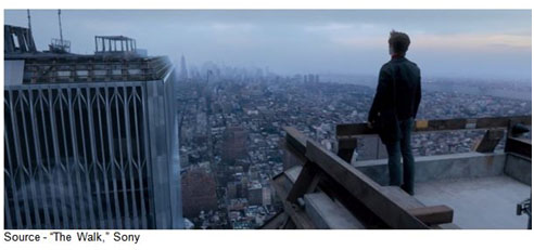 """""""I find myself standing on an island floating in mid-air... at the edge of the void. Now I know what the void is. The void is my domain. But not this void."""" – Philippe Petit, """"The Walk,"""" Sony, 2015"""