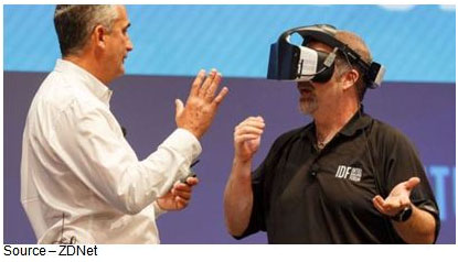 Intel's CEO Brian Krzanich discusses Project Alloy with Terry Myerson, executive vice president of Microsoft's Windows Devices Group. Krzanich claims Alloy contains everything you need to have a VR experience without extraneous components. It includes the computational and graphics power to create the virtual images and an internal battery for power, as well as 3D cameras and sensors powered by Intel's RealSense motion tracking technology.