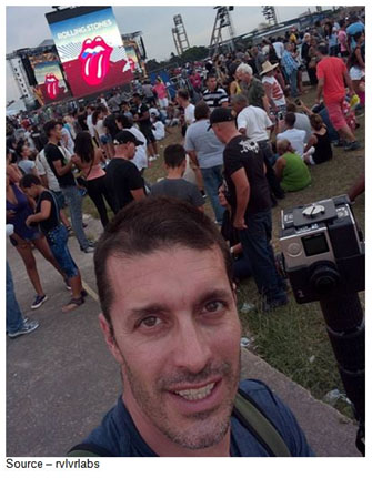 Test Shot – Nick Bicanic, rvlvrlabs, memorialized himself as he prepares to do a 360 video documentary of the first Rolling Stones concert in Cuba. The event was so popular more than a million Cubans attended first hand and viewing on screens around Havana and other cities.